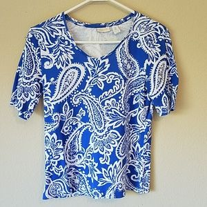 Chico's Blue & White Paisley Tee Small